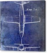 1949 Airplane Patent Drawing Blue Canvas Print