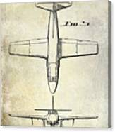 1949 Airplane Patent Drawing Canvas Print