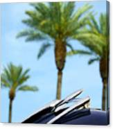 1950 Oldsmobile Rocket 88 Convertible Hood Ornament And Palms Canvas Print