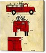 1950 Red Firetruck Patent Canvas Print