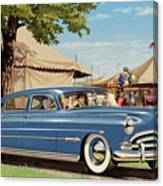 1951 Hudson Hornet Fair Americana Antique Car Auto Nostalgic Rural Country Scene Landscape Painting Canvas Print
