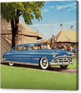1951 Hudson Hornet - Square Format - Antique Car Auto - Nostalgic Rural Country Scene Painting Canvas Print