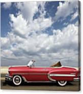 1953 Chevy Bel Air Convertible, Mixed Media, Louis Vuitton Steamer Trunk  Canvas Print