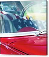 1955 Chevy Bel Air With Flag Canvas Print
