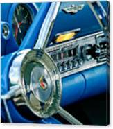 1956 Ford Thunderbird Steering Wheel And Emblem Canvas Print