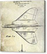 1956 Jet Airplane Patent 2 Blue Canvas Print