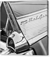 1957 Chevrolet Bel Air Tail Light Emblem -0140bw Canvas Print