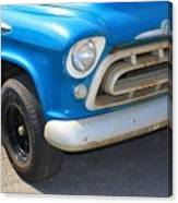 1957 Chevy - Chevrolet Pickup Grille And Logos Canvas Print