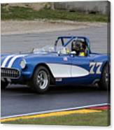 1957 Chevy Corvette At Road America Canvas Print