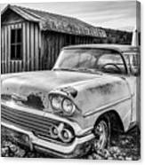 1958 Chevy Del Ray In Black And White Canvas Print
