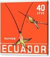 1958 Ecuador Hummingbirds Postage Stamp Canvas Print