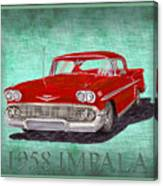 1958 Impala By Chevrolet Canvas Print