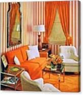 1960 70 Stylish Living Room Advertisement Orange And Stripes Groovy Baby Canvas Print