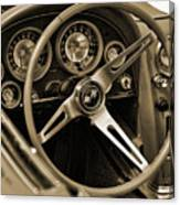 1963 Chevrolet Corvette Steering Wheel - Sepia Canvas Print