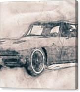 1963 Chevrolet Corvette Sting Ray - 1963 - Automotive Art - Car Posters Canvas Print