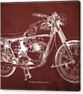 1963 Triumph Bonneville, Blueprint Red Background Canvas Print