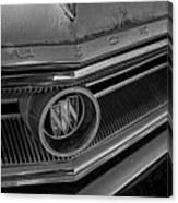 1965 Buick Hood Ornament B And W Canvas Print