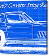 1967 Corvette Sting Ray Coupe Reversed Blueprint Canvas Print