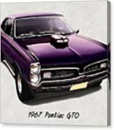 1967 Purple Pontiac Gto Canvas Print