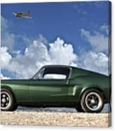 1968 Ford Bullitt Mustang Gt 390 Fastback, P-51 Mustang, Plymouth Rock Chicken Canvas Print