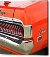 1969 Mercury Cougar Tail Light With Logos Canvas Print