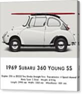 1969 Subaru 360 Young Ss - Creme Canvas Print