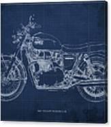 1969 Triumph Bonneville Blueprint Blue Background Canvas Print
