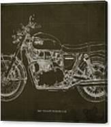 1969 Triumph Bonneville Blueprint Brown Background Canvas Print