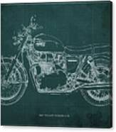 1969 Triumph Bonneville Blueprint Green Background Canvas Print