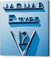 1972 Jaguar E-type V12 Roadster Emblem Canvas Print