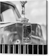 1976 Rolls Royce Saloon Hood Ornament Bw Canvas Print