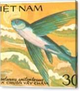 1984 Vietnam Flying Fish Postage Stamp Canvas Print