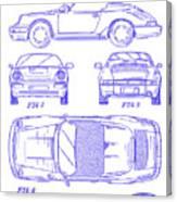 1990 Porsche 911 Patent Blueprint Canvas Print