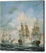 19th Century Naval Engagement In Home Waters Canvas Print