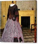 19th Century Plaid Dress Canvas Print