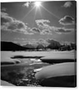 1m9203 Sunburst Over The Snake River, Tetons Canvas Print