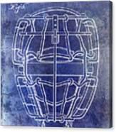 1887 Baseball Mask Patent Blue Canvas Print