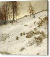 A Flock Of Sheep In A Snowstorm Canvas Print