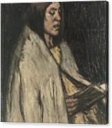 A Girl Reading A Book Canvas Print
