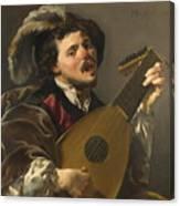 A Man Playing A Lute Canvas Print