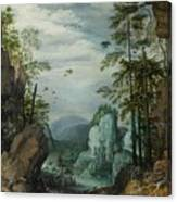 A Rocky Landscape With Travelers Canvas Print