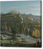 A View Of The Waterfalls And The Villa Of Maecenas Canvas Print
