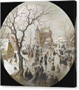 A Winter Scene With Skaters Near A Castle Canvas Print