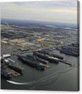 Aircraft Carriers In Port At Naval Canvas Print
