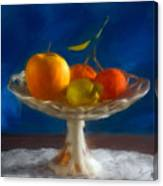 Apple, Lemon And Mandarins. Valencia. Spain Canvas Print