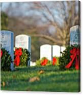 Arlington National Cemetery At Christmas Canvas Print