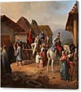 Austrian Cavalry Resting In A Village Canvas Print