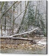 Autumn Snow Williams River  Canvas Print