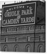 Baltimore Orioles Park At Camden Yards Bw Canvas Print