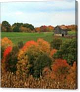 Barn On Autumn Hillside  A Seasonal Perspective Of A Quiet Farm Scene Canvas Print